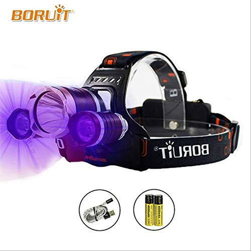 WERNG Scheinwerfer Led Headlight Uv High Power Head Light Lantern Lamp 5000Lm T6  18650  Boruit Rj-3000 Fishing Head Torch Rechargeable Headlamp Package C Black