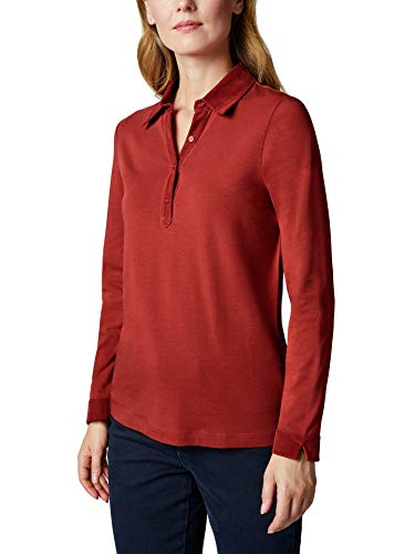 Walbusch Damen Poloshirt Feincord einfarbig Rostorange 42