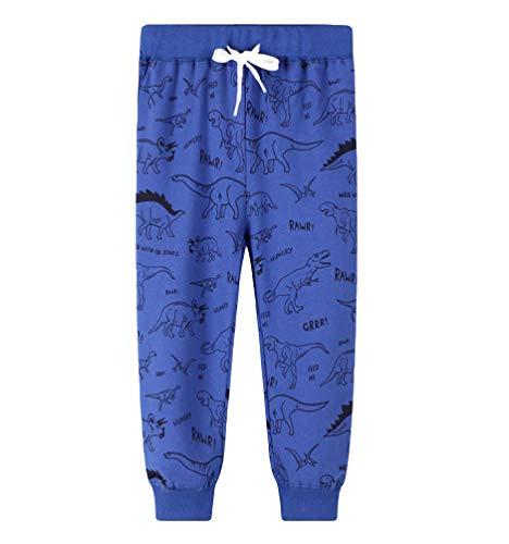 YoungSoul Pantalones Deportivos Niños Pantalon de Chándal Dinosaurio Joggers Algodon Bebé, Azul, 5-6 años