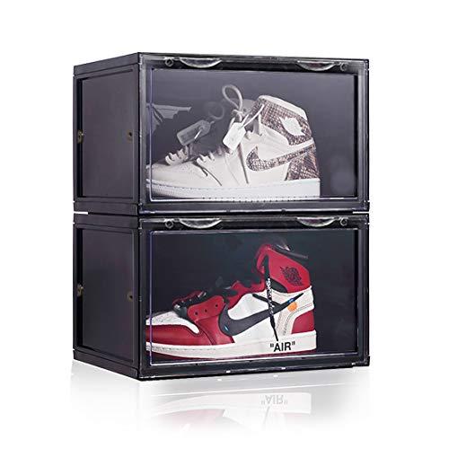 ONCCI Schuhbox Kunststoffbox mit HD durchsichtiger Tür Sichtbar Schuhaufbewahrung Box Stapelbarer Schuhorganizer 36 x 28 x 22 cm, für Schuhe bis Größe 46 (2 Pack Schwarz)