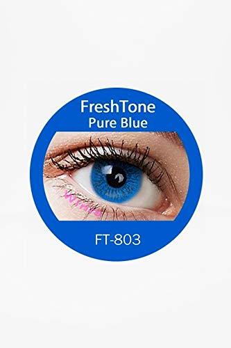 Pure Blue Farbige Jahres Kontaktlinsen mit Box braun, blau, grün, grau, türkis weich, ohne Stärke als 2er Pack (2 Stück)- mit Aufbewahrungsbox, angenehm zu tragen, perfekt für helle und dunkle Augen