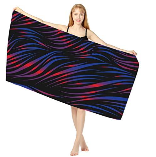 Toallas de Playa 3D 80 x 160 cm Toalla de Playa de Microfibra Supersuave Toalla Deportiva Secado Rápido Absorbente para Deportes, Viajes, Camping Esterilla de Yoga Ondulación Azul