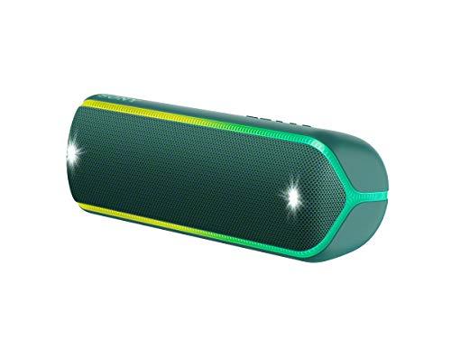 Sony SRS-XB32 kabelloser Bluetooth Lautsprecher (tragbar, NFC, farbige Lichtleiste, Extra Bass, Stroboskoplicht, wasserabweisend, kompatibel mit Party Chain, Freisprechfunktion für Anrufe) grau