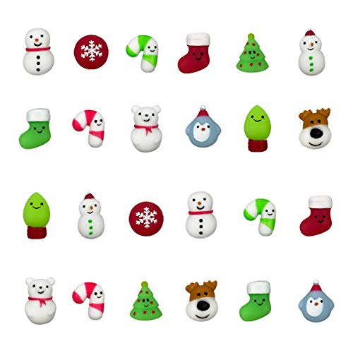 QINGQIU 24 PCS Christmas Mochi Squishy Toys Squishies Christmas Toys for Kids Girls Boys Toddlers Christmas Party Favors Stocking Stuffers Gifts
