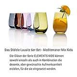 Stölzle Lausitz Mediterraner Mix Serie Elements Kids I hochwertige robuste Gläser I Trinkglas 335 ml I 6er Gläser Set I Wassergläser Set I Gläser bunt I spülmaschinenfest I Beste Qualität - 3