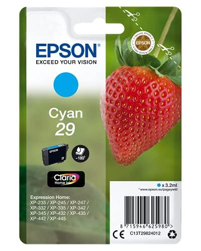 Epson 29 Fraise Cyan, Cartouche d'encre d'origine,XP-235 XP-243 XP-245 XP-247 XP-255, XP-257 XP-332 XP-335 XP-342 XP-345 XP-352 XP-355 XP-432 XP-435 XP-442 XP-445 XP-452 XP-455
