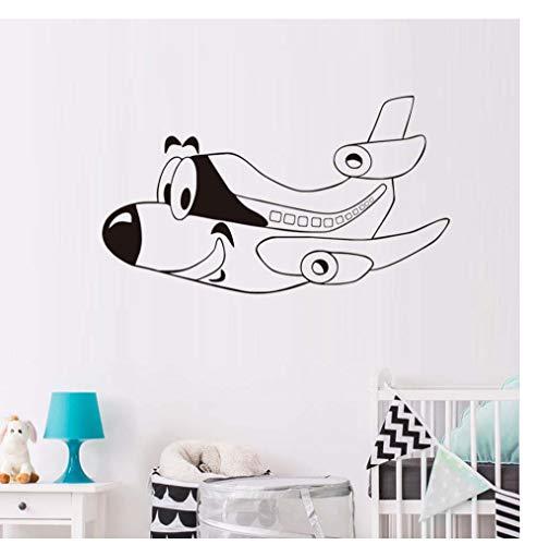 Muursticker Cartoon Vliegtuig Muursticker Grappig Emoji Vliegtuig Vinyl Behang Muurschildering Kinderen Babykamer Decoratie 35 * 45Cm