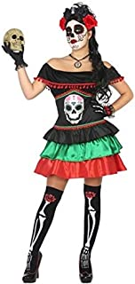 Ladies Sexy Mexican Day of The Dead Skeleton Halloween Carnival Fancy Dress Costume Outfit 8-22 Plus Size