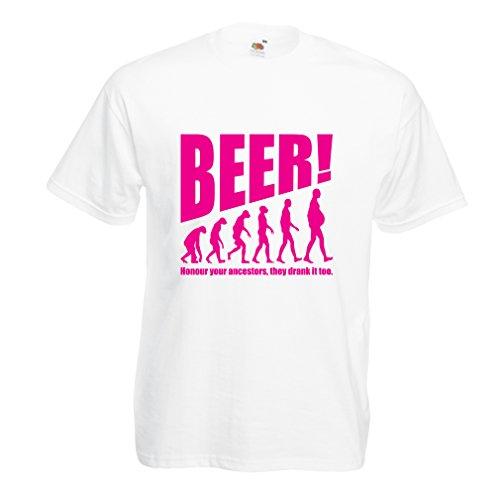 lepni.me Camisetas Hombre The Beervolution - Ideas Divertidas únicas sarcásticas del Regalo para los Amantes de la Cerveza, evolución de consumición (X-Large Blanco Magenta)