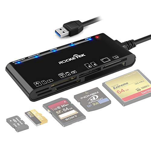 Lettore di schede USB 3.0,lettore di schede di memoria 7 in 1 Rocketek,USB 3.0 ad alta velocità CF/SD/TF/XD/MS/Micro SD Card Solt Lettore di schede tutto in uno per WIN XP/Vista/ Mac OS/Linux,eccetera