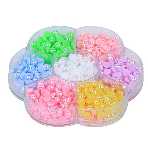 Cuentas de fondo plano, semicírculo de colores Cuentas de perlas de imitación de fondo plano de plástico Cuentas de perlas planas de media vuelta Accesorios de artesanía de bricolaje para ropa