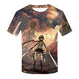 EDMKO Unisexo Colorful Attack on Titan Gráficos Camiseta Moda Casual T-Shirt Creativo Cuello Redondo Verano Manga Corta Personajes De Anime Disfraces De Cosplay,M