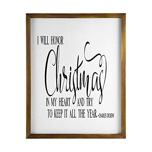 Scott397House Wood Framed Wall Art for Living Room, I Will Honor Christmas In My Heart Rustic Farmhouse Wooden Signs Home Decor for Bedroom Nursery Dorm 40x50cm