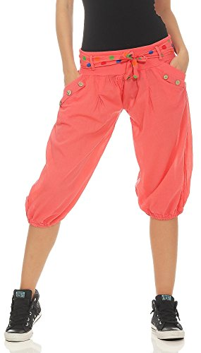 Malito Damen Pumphose in Unifarben | lässige Kurze Hose | Bermuda für den Strand | Haremshose - Pants 3416 (Coral)