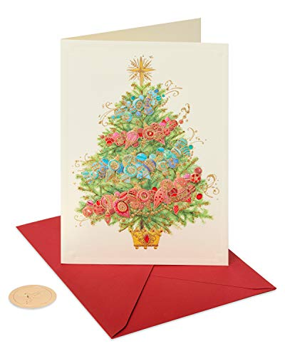 Papyrus Christmas Cards Boxed, Christmas Tree with Holiday Ornaments (12-Count)
