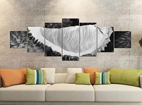 Leinwandbilder 7 Tlg 280x100cm schwarz Durian Obst Pflanze Essen Küche Kern Leinwand Bild Teile teilig Kunstdruck Druck Wandbild mehrteilig 9YB2511, Leinwandbild 7 Tlg:ca. 280cmx100cm