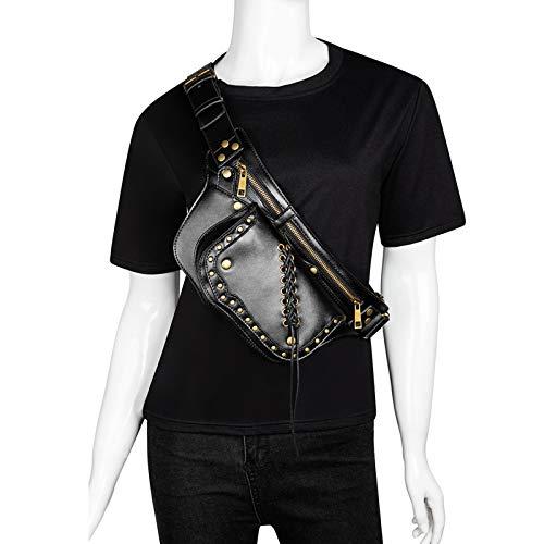 CVBGH Bolso De Pecho De Cuero De PU Bolso Punk Retro Negro Bolso De Cinturón para Mujer Bolso Pequeño De Mensajero Steampunk