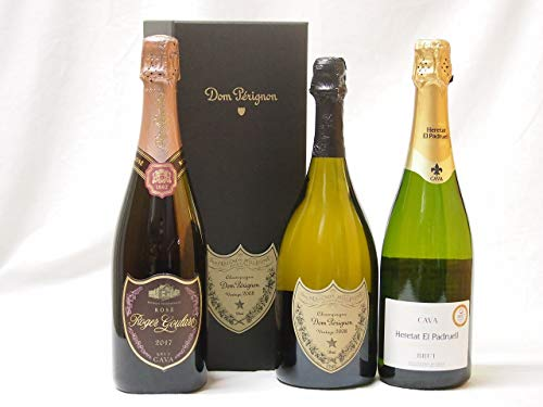 ドンペリスパークリングワイン飲み比べ 3本セット ドンペリギフトボックス付きドンペリ白・ロジャー グラート カヴァ750ml×3本
