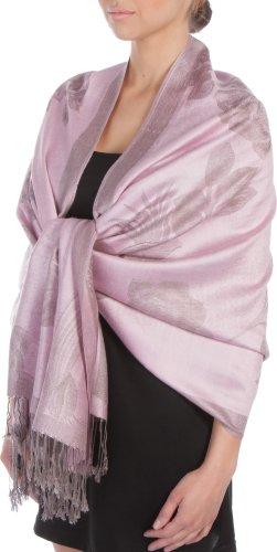 Sakkas Two Tone Rose sciarpa Pashmina/Stole/Wrap - colore rosa di bambino/grigio