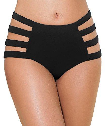 Mapalé bikinibroek, met openingen, zwart, onderste badpak, zwart, hoog gesneden slip in retro stijl