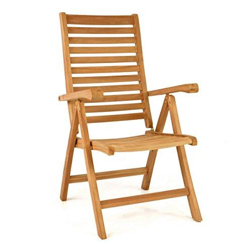 DIVERO Stuhl Teak Holz klappbar massiv Gartenstuhl Teakstuhl Holzstuhl behandelt