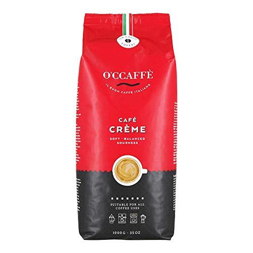 O'CCAFFÈ – Café Crème | 1 kg ganze Kaffeebohnen | säurearmer, aromatischer Kaffee Crema | extra langsame Trommelröstung aus italienischem Familienbetrieb
