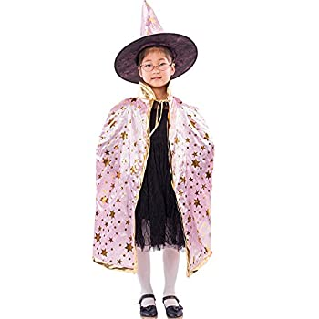 Fine Witch Cloak Set,Halloween Costumes Witch Wizard Cloak with Hat for Kids Children Boys Girls Halloween Cosplay Costumes  Pink
