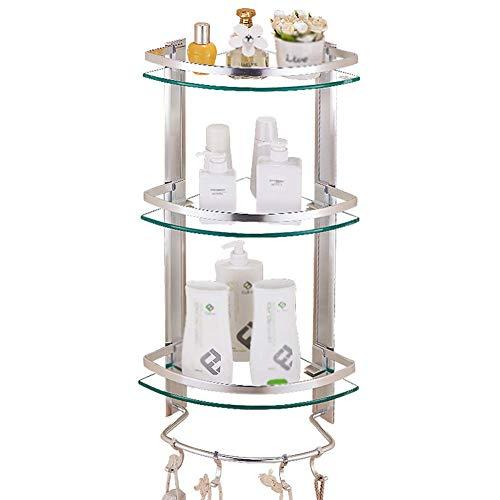 Organice Gabinetes de almacenamiento, Estante de baño Bolsa de almacenamiento de ducha Montado en la pared Triángulo Cesta de la esquina Punch-Libre de vidrio sin templado Rack enlace 3 capas (Tamaño: