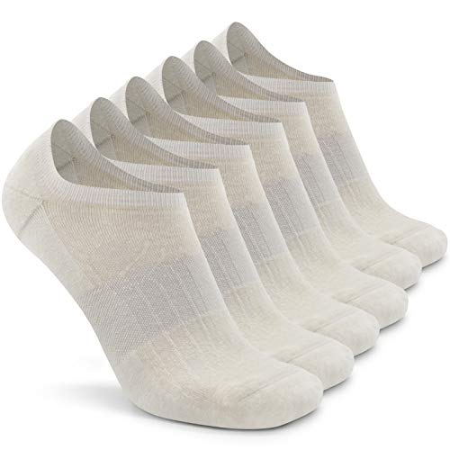 Merino Wool Running Socks Men,Busy Socks Women's No-Show Casual Fashion Cushioned Heel Elastic Top Comfort Journey Low Cut Socks, 6 Pairs, Large, White