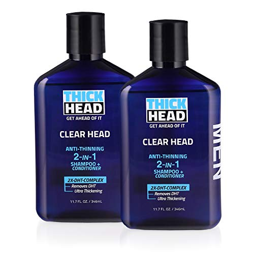Thick Head Clear Head Anti-Thinning 2 in 1 Shampoo and Conditioner for Men For Thicker Fuller Hair 11.7 oz each, Pack of 2