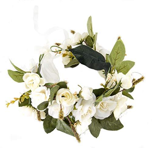 Gumolutin Women Flower Headband Wreath Crown Handmade Adjustable Halo Floral Hair Wreath For Wedding Beach Party Festival Photo Props, White