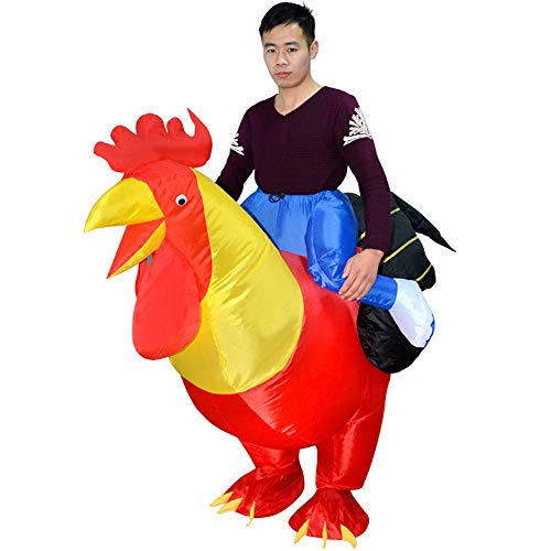 Weehey Adultos Rooster Inflable Traje Prop Blow Up Inflable Vestido Halloween Cosplay Dress Up Party Stage Performance