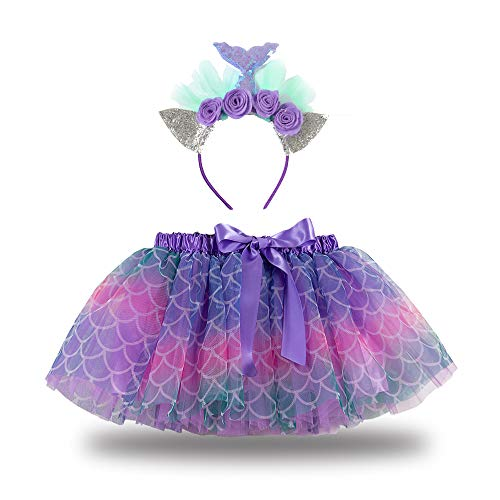 Loalirando Disfraz infantil de sirena para Halloween, disfraz de sirena, tutú, vestido con diadema, para cumpleaños, fiesta, princesa, color lila, 6-7 años