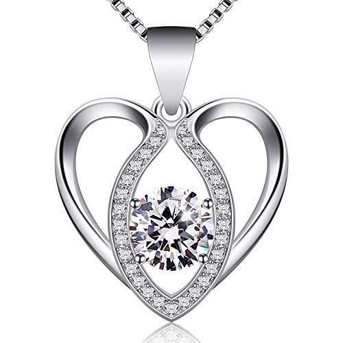 Jewlldeen Kette Damen Silber herz Anhänger Halskette 925 Sterling Silber kettenanhänger ''Ich Liebe dich'' Schmuck Zirkonia 18 Inch Kettenlänge Geschenk für...