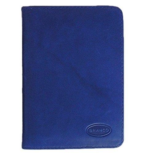 Branco A7 Hülle Etui Mappe z.B. für Ausweis, Fahrzeugschein, Führerschein und Kredit-Karten, Echt-Leder, Azur-Blau, Branco 302