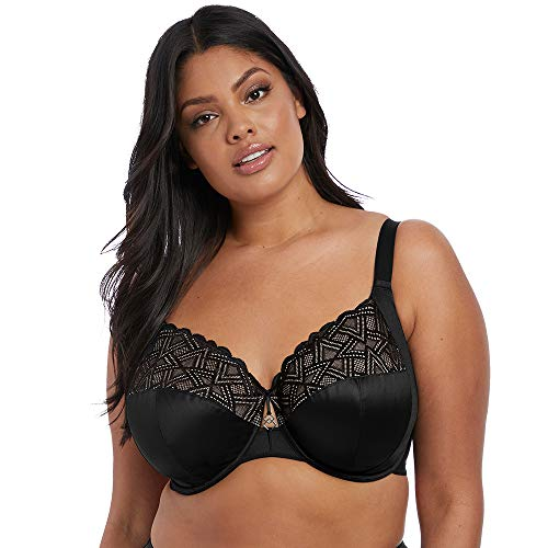 Elomi Women's Plus-Size Lydia Bandless Plunge Bra with Racer Back Conversion Bra, Black, 44FF