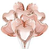 FORMIZON 20 Pcs Globos de Papel de Aluminio, Globos de Corazón Oro Rosa, Globos en Forma de Corazón para la Decoración del Partido, Cumpleaños, Decoración de Helio