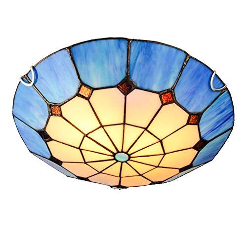 Jay Tiffany Modernas Luces de Techo Redondas Accesorios Lámparas de Techo Azules Simples Pantalla de círculo Rural Sala de Estar Dormitorio Hotel Montaje Empotrado Decoración Iluminación,40cm