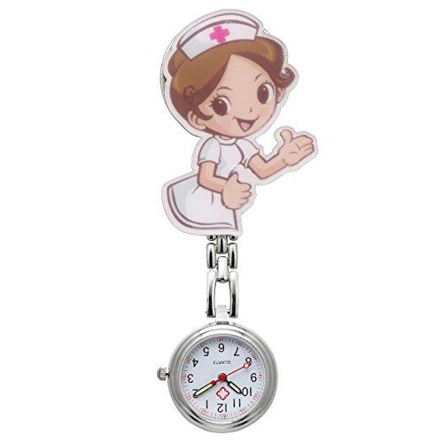 Reloj Jsdde de enfermera, con cadena, de cuarzo, de bolsillo, con chica de dibujos animados #1