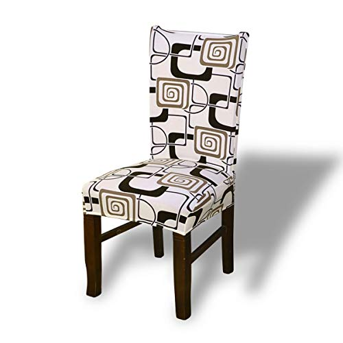Fashion·LIFE Sala da Pranzo 6 pezzie sedie da Pranzo Modern Decorativo Protezione in Stretch in Tessuto Facile da Pulire e di Lunga Durata,Bianco Polvere