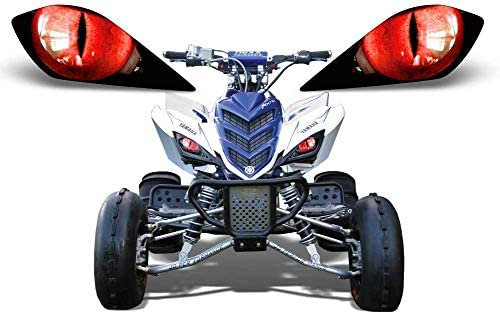 AMR Racing ATV Headlight Eye Graphics Decal Cover Compatible with Yamaha Raptor 700/250/350 - Eclipse Red
