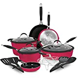 Paula Deen Family 14-Piece Ceramic, Non-Stick Cookware Set, 100% PFOA-Free and Induction Ready, Features Stay-Cool Handles, Dual Pour Spouts and Kitchen Tools (Ruby Red)