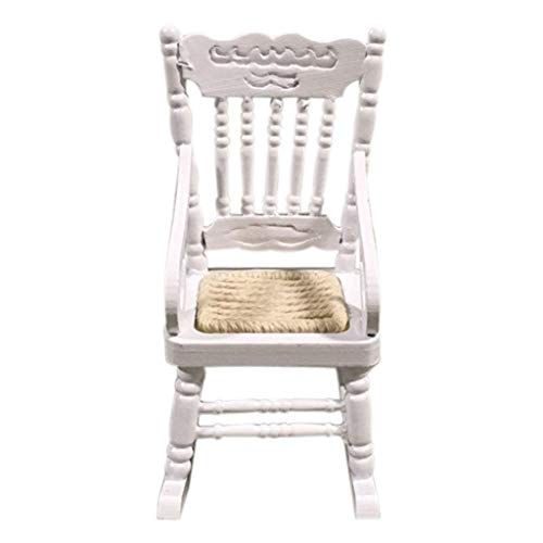 jieGorge Miniature Rocking Chair for 1:12 Dollhouse Wooden Furniture Model Set, Toys and Hobbies (White)