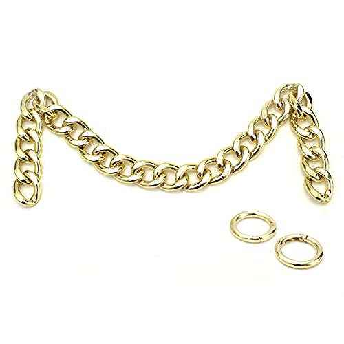 Xiazw DIY Heavy Chunky aluminio metal bolso manejar cadenas encantos correa reemplazo bolso accesorios decoración (oro claro)