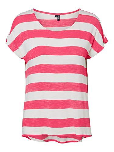 VERO MODA Damen VMWIDE Stripe S/L TOP GA Color 10212038, Honeysuckle/Snow White, M