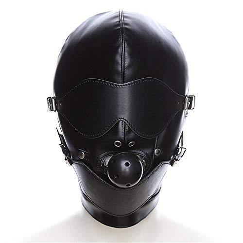 XO-MOK Negro Extraíble y Totalmente Cerrado Boca Máscara Enchufe Máscara Capucha Juego de Cama Hombres Mujeres Cosplay Pareja Jugar Juguetes Vestido Personalizado