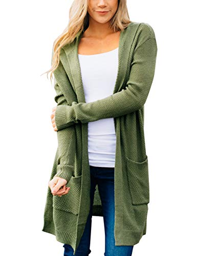 MEROKEETY Women's Long Sleeve Open Front Hoodie Knit Sweater Cardigan with Pockets