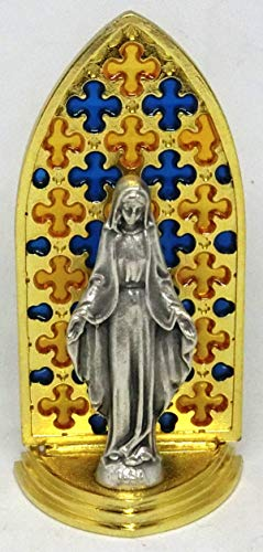 GTBITALY 20.079.21 Vitrina gótica esmaltada a mano oro con objeto Virgen Milagrosa Medida 8,5 cm
