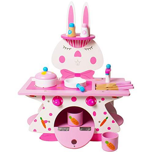 Arkmiido Juguetes de Cocina Madera Juego de Imitación Cocina para Niños y Niñas 3 4 5 6 (40 x 24 x 50 cm) Rosa