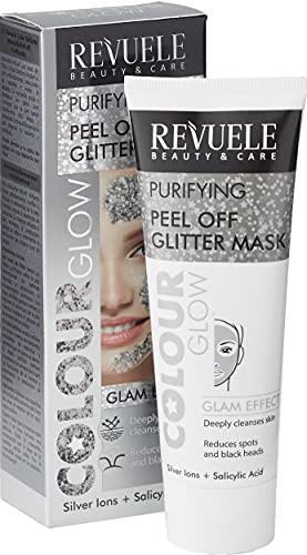 Revuele, Reinigend Peel Off Glitter Maske Farbe Glow Silber ml mit Silberionen und Salicylsäure Glam Effekt Haut Reinigen Intelligente Schönheit, One, 80 milliliter